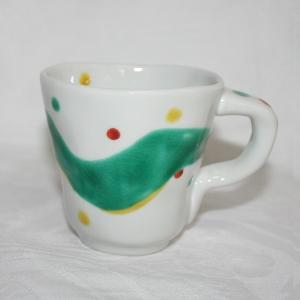 手描き 九谷焼 和洋食器 手起し水玉よろけ文マグカップ|kutani-bitouen