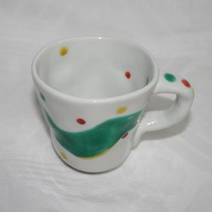 手描き 九谷焼 和洋食器 手起し水玉よろけ文マグカップ|kutani-bitouen|02