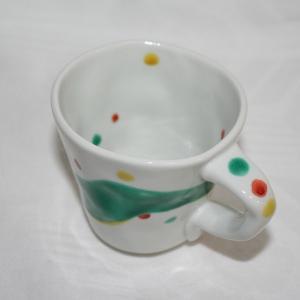 手描き 九谷焼 和洋食器 手起し水玉よろけ文マグカップ|kutani-bitouen|03