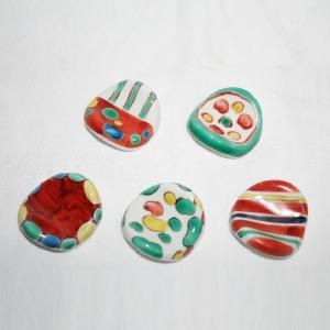 手描き 九谷焼 和洋食器 絵変り楕円形箸置|kutani-bitouen