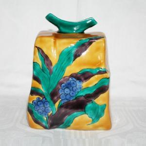 手描き 九谷焼 万年青文五寸方形花器|kutani-bitouen