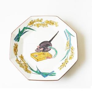 手書き 九谷焼 和洋食器  干支 「戌」文様九寸八角皿  kutani-bitouen