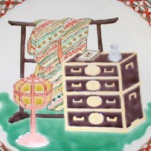 手書き 九谷焼 道具づくし八寸飾皿|kutani-bitouen|03