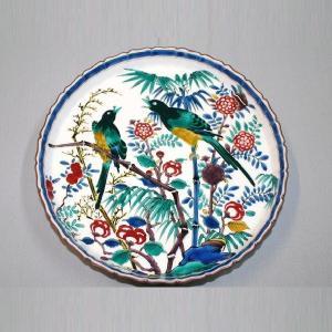 手書き 九谷焼 はは鳥文八寸飾皿 (山岸 雄三)|kutani-bitouen