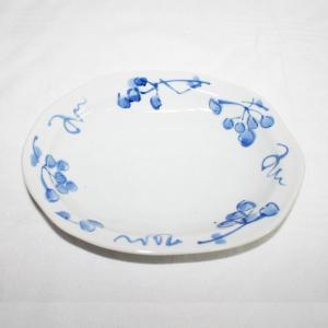 手描き 九谷焼 和洋食器 染付山帰来文六・五寸楕円皿|kutani-bitouen