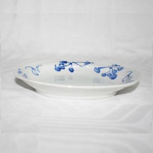 手描き 九谷焼 和洋食器 染付山帰来文六・五寸楕円皿|kutani-bitouen|02