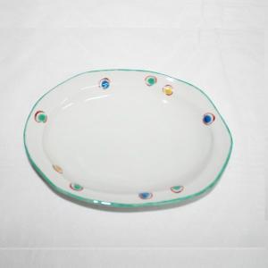 手描き 九谷焼 和洋食器 水玉文六・五寸楕円皿|kutani-bitouen