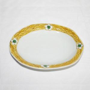 手描き 九谷焼 和洋食器 白花文様六・五寸楕円皿 kutani-bitouen