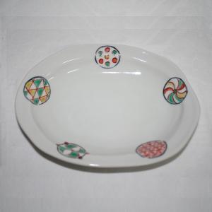手描き 九谷焼 和洋食器 丸紋様六・五寸楕円皿 kutani-bitouen