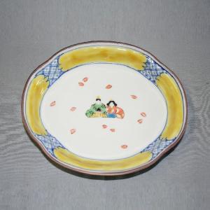 手描き 九谷焼 和洋食器 ひな文木瓜皿|kutani-bitouen