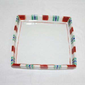 手描き 九谷焼 和洋食器 縞文足付六寸皿|kutani-bitouen|03