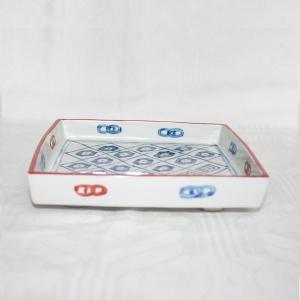 手描き 九谷焼 和洋食器 染入さらさ文足付六寸皿|kutani-bitouen|02