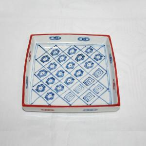手描き 九谷焼 和洋食器 染入さらさ文足付六寸皿|kutani-bitouen|03