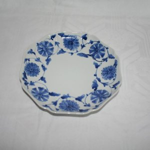 手描き 九谷焼 和洋食器 染付風車花文様七寸皿|kutani-bitouen