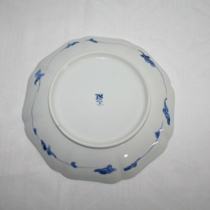 手描き 九谷焼 和洋食器 染付風車花文様七寸皿|kutani-bitouen|03