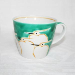 手描き 九谷焼 和洋食器 鷺文様マグカップ|kutani-bitouen