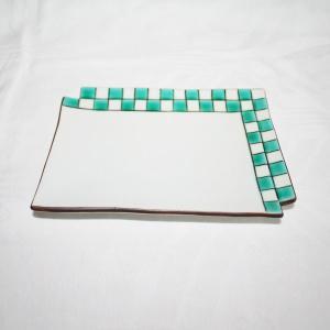 手描き 九谷焼 和洋食器 色紙違い五寸長形皿(緑)|kutani-bitouen