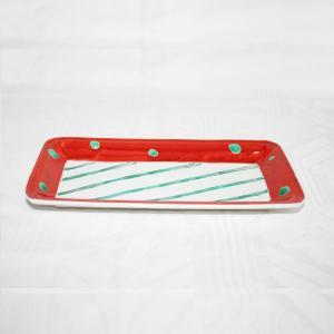 手描き 九谷焼 和洋食器 赤絵水玉文八寸細長皿|kutani-bitouen
