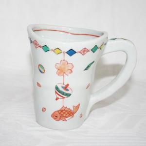 手描き 九谷焼 吊り飾り文様大マグカップ(鯛)|kutani-bitouen