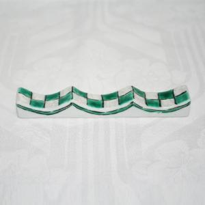 九谷焼 手描き 和洋食器 市松文様(緑)フォーク&ナイフ レスト|kutani-bitouen