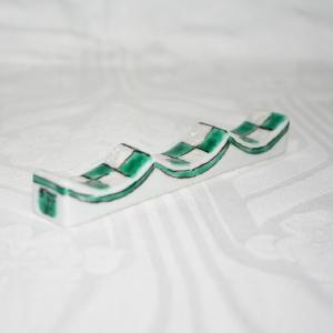 九谷焼 手描き 和洋食器 市松文様(緑)フォーク&ナイフ レスト|kutani-bitouen|04