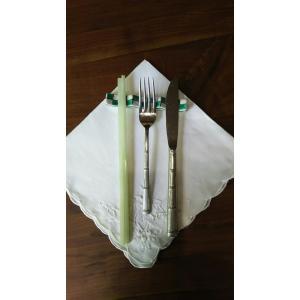 九谷焼 手描き 和洋食器 市松文様(緑)フォーク&ナイフ レスト|kutani-bitouen|05