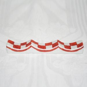 九谷焼 手描き 和洋食器 市松文様(赤)フォーク&ナイフ レスト|kutani-bitouen