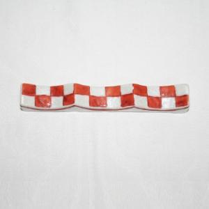 九谷焼 手描き 和洋食器 市松文様(赤)フォーク&ナイフ レスト|kutani-bitouen|02
