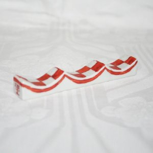 九谷焼 手描き 和洋食器 市松文様(赤)フォーク&ナイフ レスト|kutani-bitouen|04