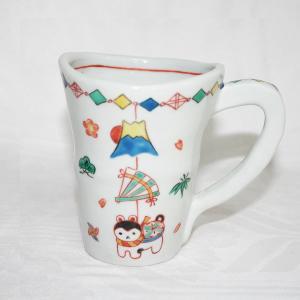 手描き 九谷焼 吊り飾り文様大マグカップ(張子犬)|kutani-bitouen