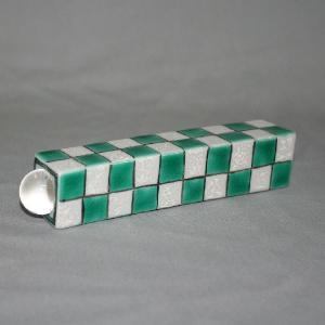 手書き九谷焼 万華鏡  市松文様(緑)万華鏡(テレード形) |kutani-bitouen