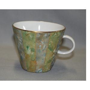 吉田 幸央 彩色金彩 コーヒーカップ(緑)|kutani-bitouen