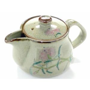 急須 きゅうす 一人用 花柄 日本製 ポット おしゃれ 洗いやすい 注ぎやすい 九谷焼 急須 茶器 ティーポット 小 なでしこ 裏絵|kutanihyakkaen