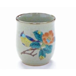 ギフト 九谷焼 お湯呑 湯飲み 小 椿に鳥 裏絵 和食器 花鳥柄 椿柄 女性用 花鳥風月(Kutani teacup)百華園|kutanihyakkaen