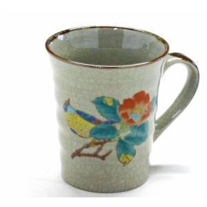 ギフト 九谷焼 マグカップ マグ 椿に鳥 裏絵 花鳥柄 保温性 陶器 おしゃれ シール焼 花鳥風月(Kutani mug)百華園 kutanihyakkaen