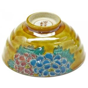 飯碗 お茶碗 和食器 日本製 かわいい おしゃれ ギフト 内祝 御礼 モダン お花の王様 重厚 九谷焼 飯碗 大 濃い塗り牡丹 下塗り|kutanihyakkaen
