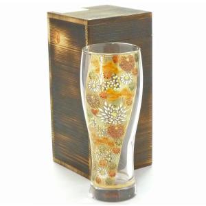 ギフト 九谷焼 ビアカップ ビアジョッキ ビールグラス ガラス 退職祝い ガラスのお殿様・お姫様気分(金花詰)桐箱入り(kutani beer glasses)|kutanihyakkaen