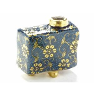 九谷焼 一輪挿し 花瓶 フラワーベース 手のひらサイズ インテリア 和風  手描き 縁起の良い 青粒(アオチブ)ハンコ版(Kutani vase)百華園 kutanihyakkaen