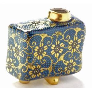 九谷焼 一輪挿し 花瓶 フラワーベース 手のひらサイズ インテリア 和風  手描き 豪華 縁起の良い 手打ち青粒(アオチブ)(Kutani vase)百華園 kutanihyakkaen