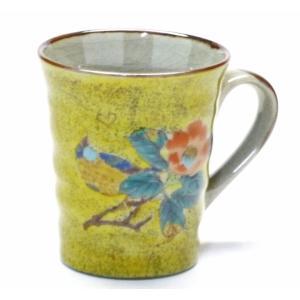ギフト 九谷焼 マグカップ マグ 椿に鳥 黄塗り 裏絵 ブランド おしゃれ 陶器 縁起柄 幸せの黄色 幸福(Kutani mug)百華園|kutanihyakkaen