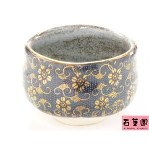 自宅で気軽に抹茶碗 和食器 九谷焼 おしゃれ 豪華 茶の湯 茶碗  ギフト包装 九谷焼 抹茶碗 青粒(アオチブ)のハンコ版|kutanihyakkaen