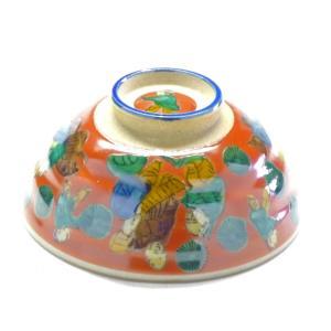 ギフト 九谷焼 飯碗 ご飯茶碗 ちゃわん おしゃれ ギフト 手描き ハート 唐子 朱 大 木米 裏絵 (Kutani rice bowl) 百華園|kutanihyakkaen
