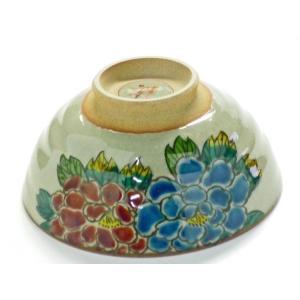 ギフト 九谷焼 飯碗 ご飯茶碗 ちゃわん おしゃれ ギフト 手描き 花柄 大 色絵牡丹 高台塗り無し (Kutani rice bowl) 百華園|kutanihyakkaen