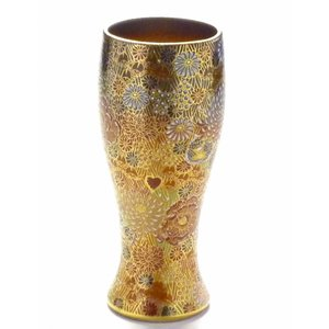 ギフト 九谷焼 ビアカップ ビアジョッキ ビールグラス 酒器 おしゃれ 退職祝い 豪華 加賀のお殿様・お姫様キブン(金花詰)|kutanihyakkaen