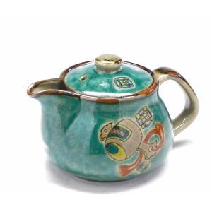 急須 きゅうす ご贈答 二人用 日本製 おしゃれ 洗いやすい 九谷焼 茶器 急須 ティーポット 大 宝尽くし緑塗り 裏絵|kutanihyakkaen