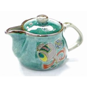 急須 きゅうす ご贈答 一人用 日本製 おしゃれ 洗いやすい 九谷焼 茶器 急須 ティーポット 小 宝尽くし緑塗り 裏絵|kutanihyakkaen