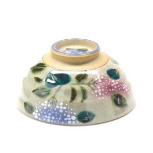 ギフト 九谷焼 飯碗 ご飯茶碗 ちゃわん おしゃれ ギフト 手描き 花柄 大 がく紫陽花ピンク&ブルー 裏絵(Kutani rice bowl) 百華園|kutanihyakkaen