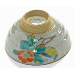 ギフト 九谷焼 飯碗 ご飯茶碗 ちゃわん おしゃれ ギフト 転写紙 花柄 鳥 大 椿に鳥 中絵 (Kutani rice bowl) 百華園|kutanihyakkaen