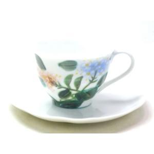 九谷焼 手描き カップ&ソーサー コーヒーカップ 磁器 おしゃれ 花柄 九谷焼 カップ&ソーサー がく紫陽花 裏絵|kutanihyakkaen