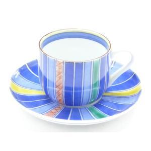 ギフト 九谷焼 カップ&ソーサー コーヒーカップ おしゃれ ギフト 手描き ストライプ 線紋|kutanihyakkaen